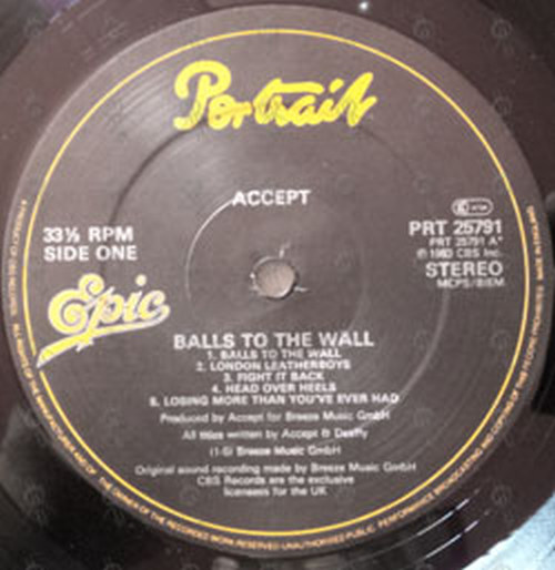 Accept Balls To The Wall 12 Inch Lp Vinyl Rare