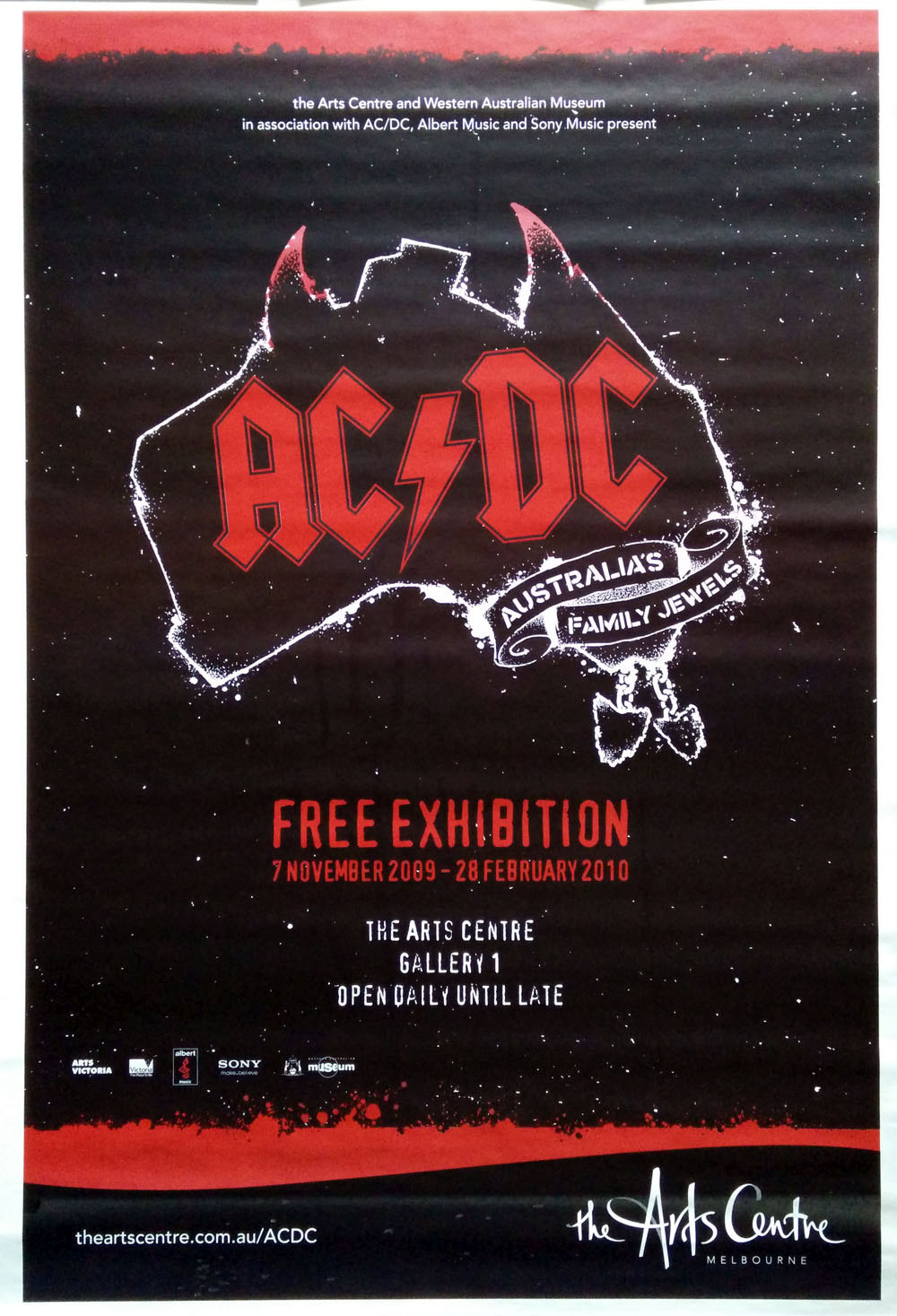 ac dc arts centre melbourne 2009 exhibition poster billboard sizes posters rare records. Black Bedroom Furniture Sets. Home Design Ideas
