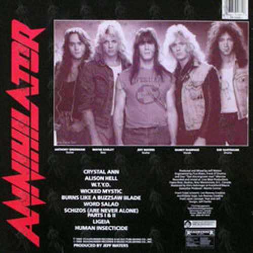 Annihilator Alice In Hell 12 Inch Lp Vinyl Rare