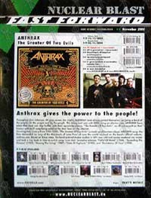 ANTHRAX - Nuclear Blast Catalogue - Anthrax On The Cover - 1