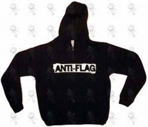 ANTI-FLAG - Black Logo Fitted Girls Hoodie - 1