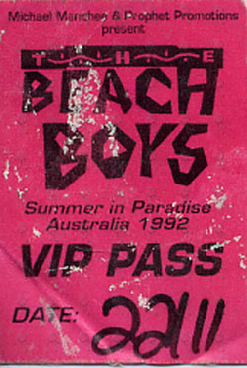 BEACH BOYS-- THE - 'Summer In Paradise' 1992 Australian Tour VIP Pass - 1