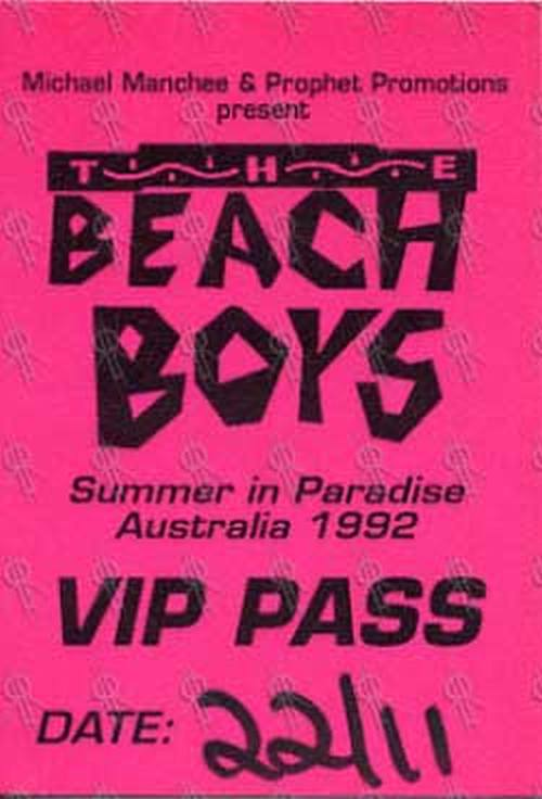 BEACH BOYS-- THE - Summer In Paradise Australian Tour Melbourne 22nd November 1992 V.I.P. Pass - 1