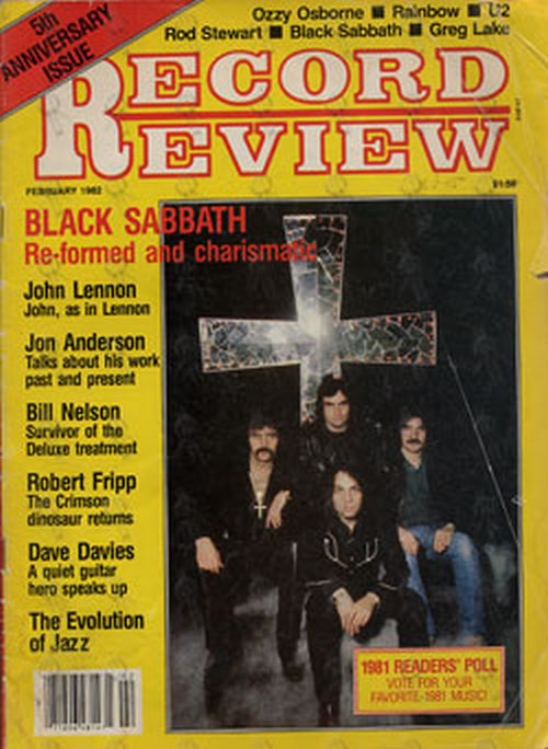 'Record Review' February 1982 - Black Sabbath On Front Cover