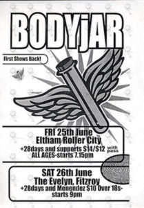 BODYJAR - June 2004 Melbourne Shows Flyer - 1
