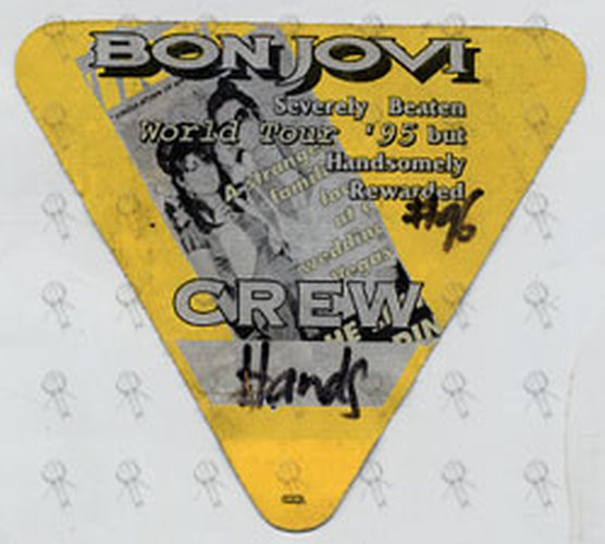 BON JOVI - 1995 World Tour 'Crew' Cloth Sticker Pass - 1