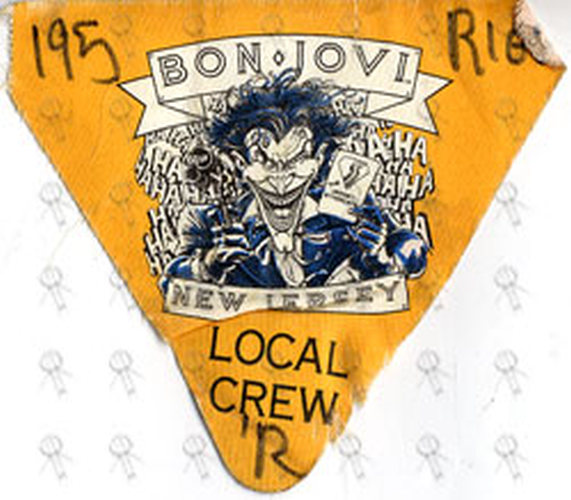 BON JOVI - 'New Jersey World Tour' Used Local Crew Cloth Sticker Pass - 1