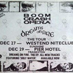 BOOM CRASH OPERA - 'Dreams On Fire' 1991 EP Tour Advertisment - 1