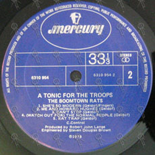 Boomtown Rats The A Tonic For The Troops 12 Inch Lp