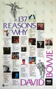 BOWIE-- DAVID - '137 Reasons Why' RCA Promotion Poster - 1