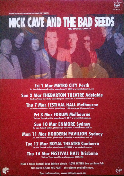 CAVE AND THE BAD SEEDS-- NICK - 2002 Australian Tour Poster - 1