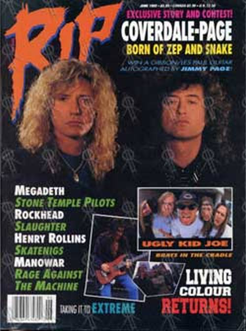 COVERDALE & PAGE - 'Rip' - June 1993 - Coverdale & Page On Cover - 1