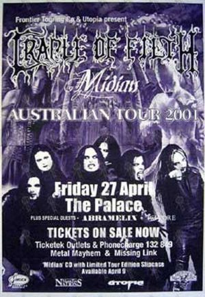 CRADLE OF FILTH - The Palace Melbourne - Friday 27 April 2000 - Gig Poster - 1
