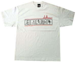 DEFTONES - Around The Fur 5 Member Cartoon Design White T-Shirt - 1