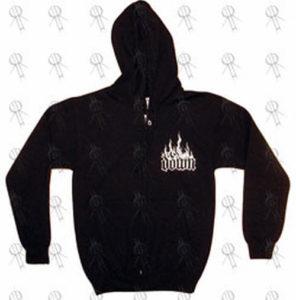 DOWN - Black 'Flaming Logo' Design Zip-Up Hoodie - 1