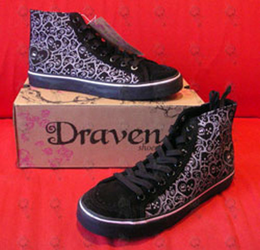 DRAVEN - Black & Pink 'Skulletine' Design Womens High-Top Shoes - 1