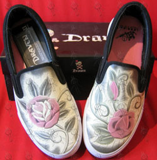 DRAVEN - Black 'Poison Rose' Design Womens Slip-On Shoes - 1