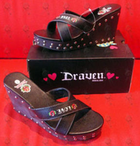 DRAVEN - Black 'True Love' Design Women's Wedge Shoes - 1