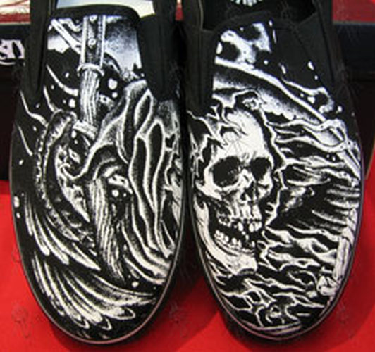 DRAVEN - Black & White 'Grim Reaper' Design Slip-On Shoes - 1