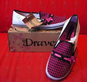 DRAVEN - Pink & Black 'Mad Plaid' Design Womens Slip-On Shoes - 1