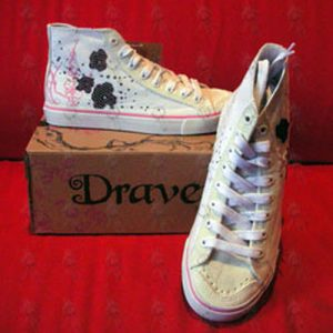 DRAVEN - White 'Sacred Garden' Design Womens High-Top Shoes - 1