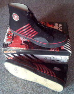 DRAVEN|PETERS-- DUANE - Black With Red Stripes Duane Peters Signature Hi-Top Shoes - 1