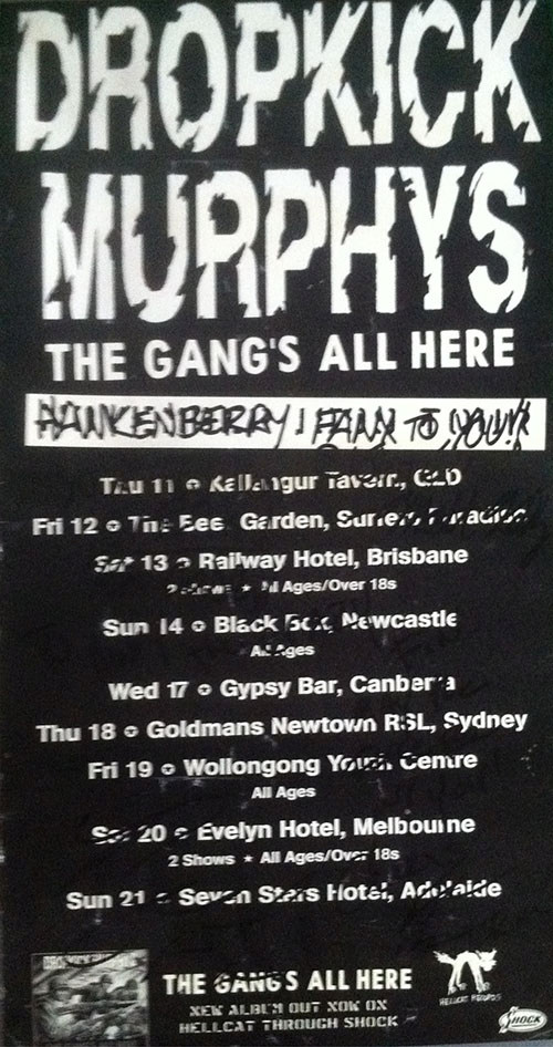 DROPKICK MURPHYS - 1999 'Gangs All Here' Australian Tour Poster - 1