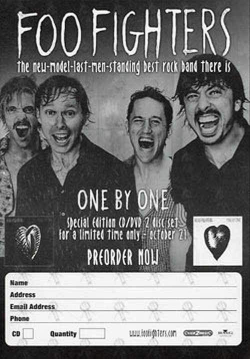 FOO FIGHTERS - 'One By One' Record Store Preorder Form - 1