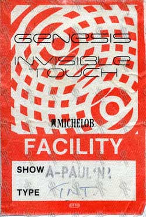 GENESIS - 'Invisible Touch' 1986/87 Tour Facility Pass - 1
