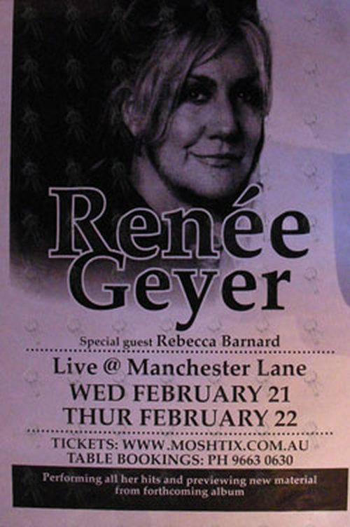 GEYER-- RENEE - Live @ Manchester Lane