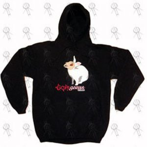 GOREGEOUS THREADS - Black 'Evil Bunny' Design Hoodie - 1