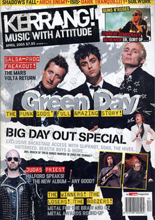 GREEN DAY - 'Kerrang' - April 2005 - Green Day On Cover - 1