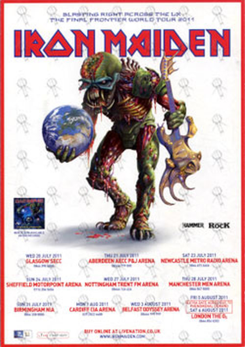 Iron Maiden The Final Frontier Signed Uk Tour Flyer