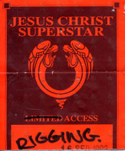 JESUS CHRIST SUPERSTAR - 1992 Australian Tour Paper 'Acess' Pass - 1