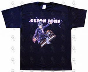 JOHN-- ELTON - Black 'Piano Man' Design 2006 World Tour T-Shirt - 1