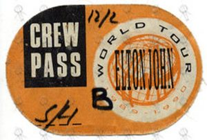 JOHN-- ELTON - 'World Tour 1989-1990' Crew Pass Used Cloth Sticker Pass - 1