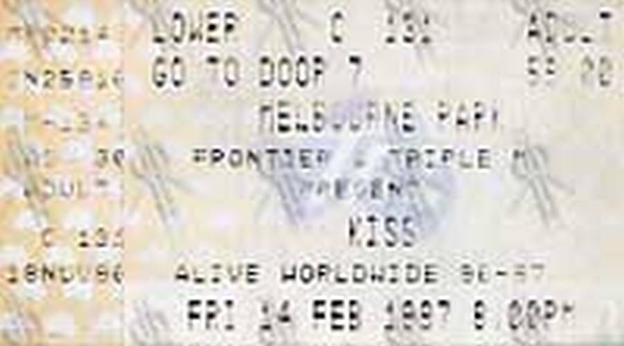 KISS - Alive Worldwide Melbourne Park Friday 14 Feb 1997 Concert Ticket - 1