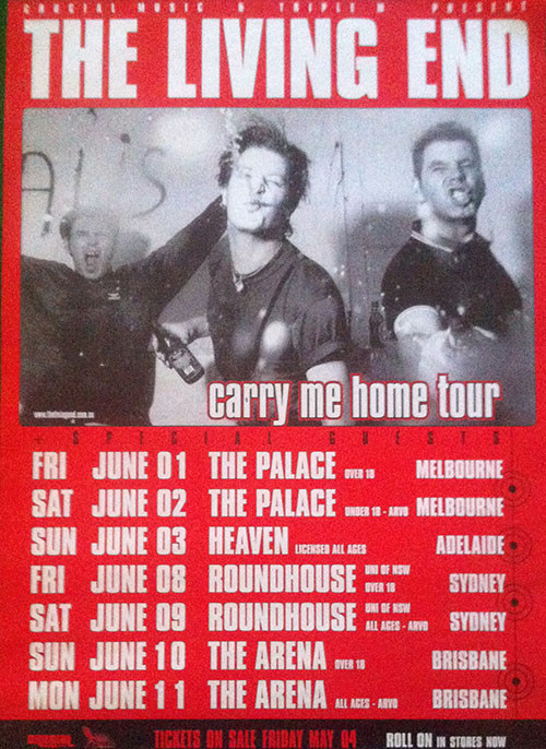 LIVING END-- THE - 2001 Carry Me Home Australian Tour - 1