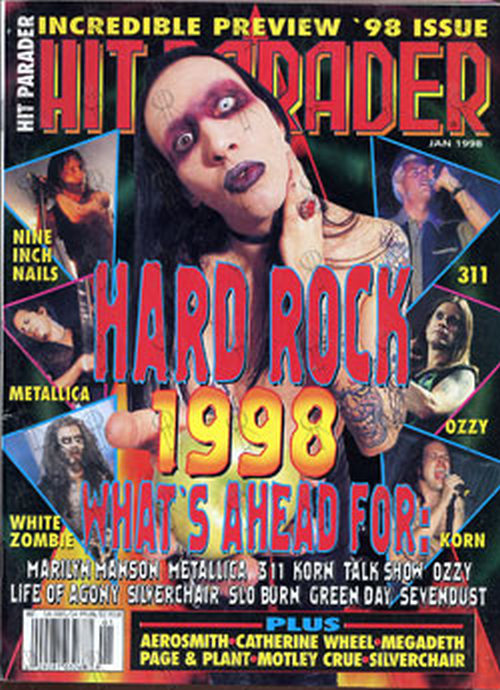 MANSON-- MARILYN - 'Hit Parader' - January 1998 - Marilyn Manson On Cover - 1
