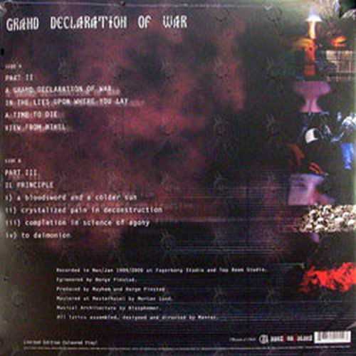 mayhem grand declaration of war 12 inch lp vinyl