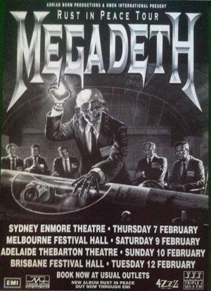 MEGADETH - 1991 'Rust in Peace' Australian Tour Poster - 1