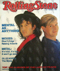 MENTAL AS ANYTHING - 'Rolling Stone' - September 1987 - Martin & Greedy On Cover - 1