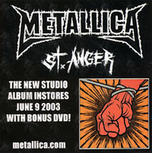METALLICA - 'St. Anger' Promo Sticker - 1