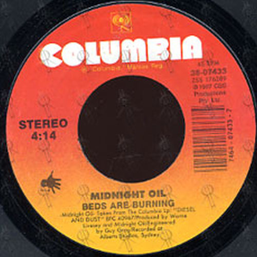 Midnight Oil Beds Are Burning 7 Inch Vinyl Rare Records
