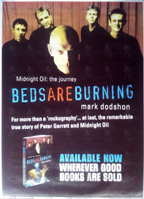 Midnight Oil Beds Are Burning Book Promo Poster Billboard Sizes Posters Rare Records