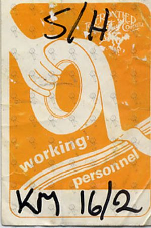 MINOGUE-- KYLIE - Rhythm Of Love - Generic 'Fronteir Touring' Working Personnel Pass - 1