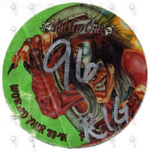 MOTLEY CRUE - Australian Tour National Tennis Centre Melbourne 27th April 1990 Rigger Cloth Sticker Pass - 1