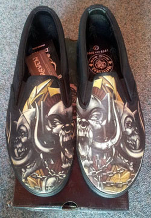 MOTORHEAD - Black 'Totem' Design Slip-On Mens' Shoes - 2