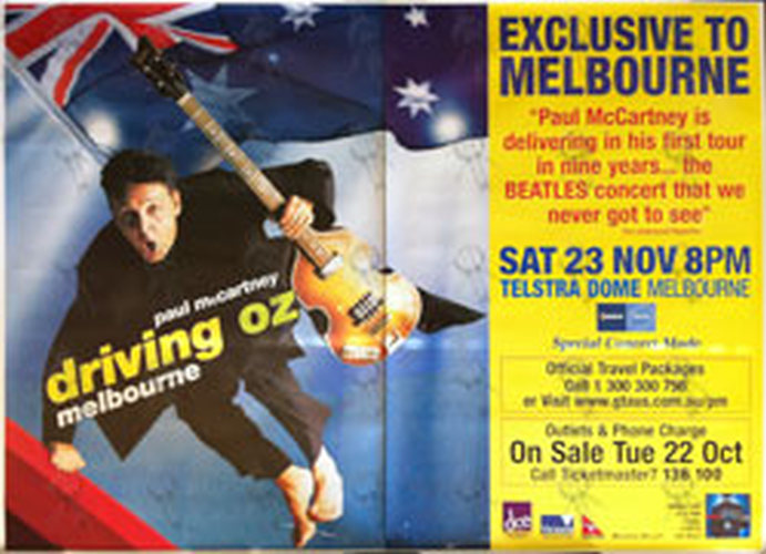 McCARTNEY-- PAUL - 'Driving Oz' Cancelled Tour - Sat 23 Nov