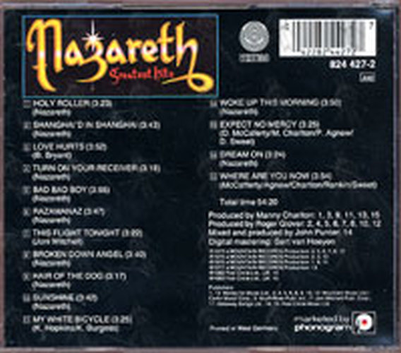 Nazareth Greatest Hits Album Cd Rare Records